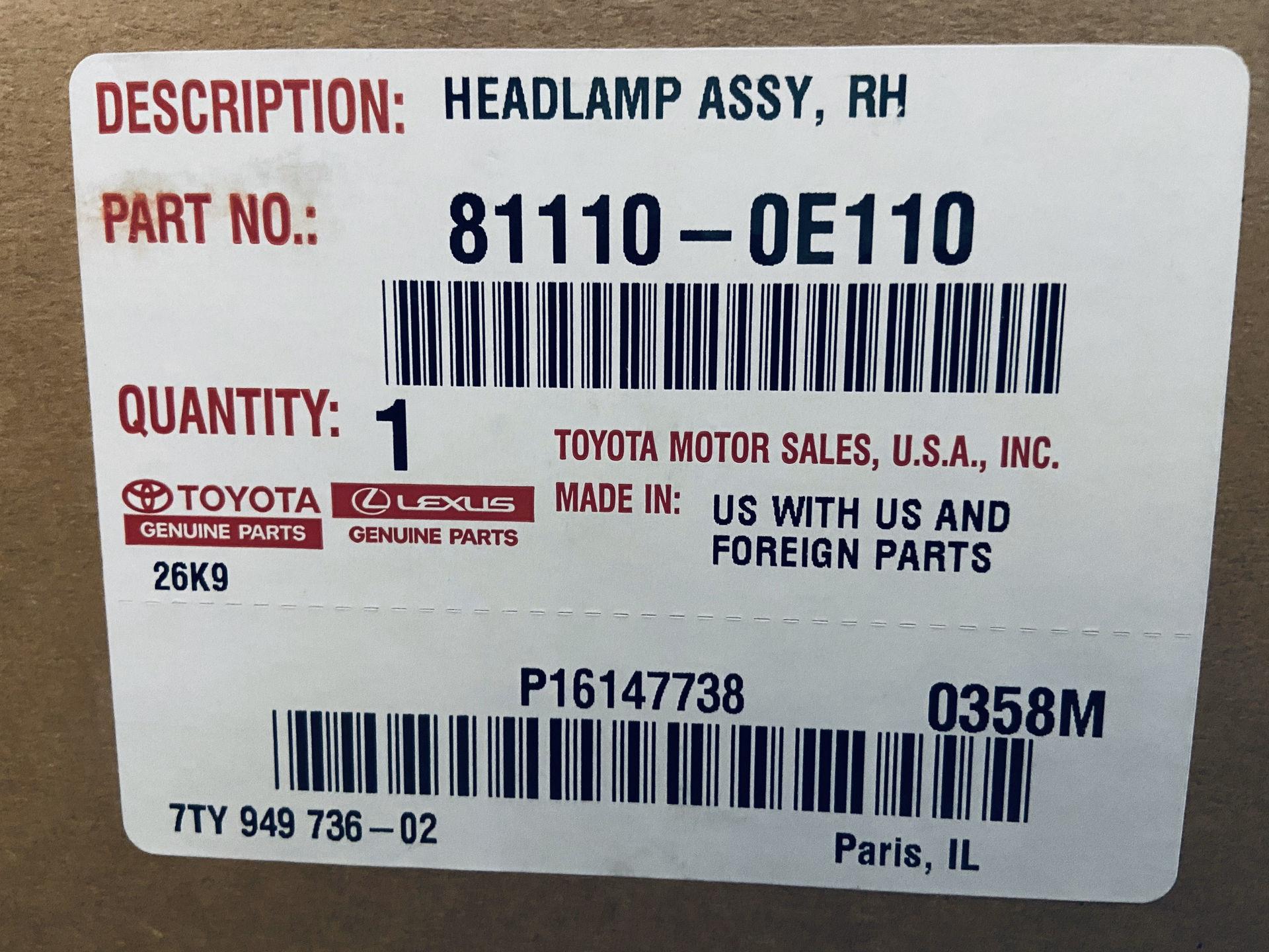 Picture of 81150-0E130 81110-0E110 Đèn pha Toyota Highlander 10-13 chính hãng