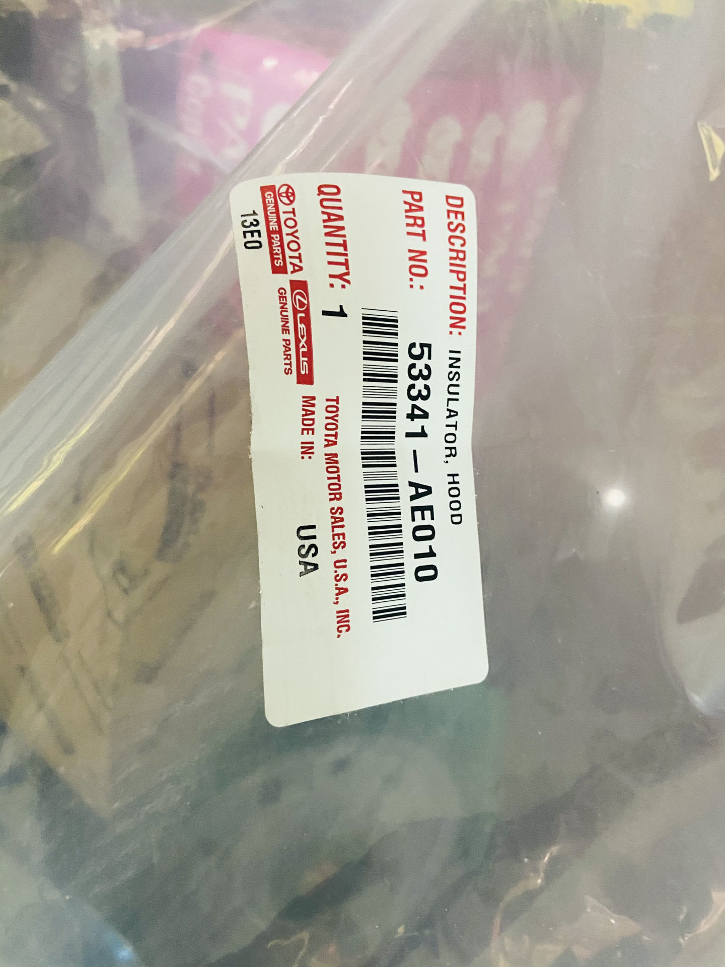 Picture of 53341-AE010, 53341AE010 Tấm chống nóng capo Toyota Sienna 2003-2009 chính hãng